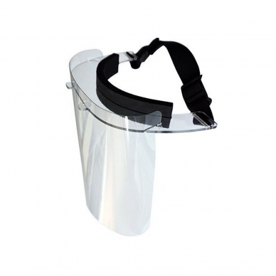 Protective face shield with padding and adjustable rubber
